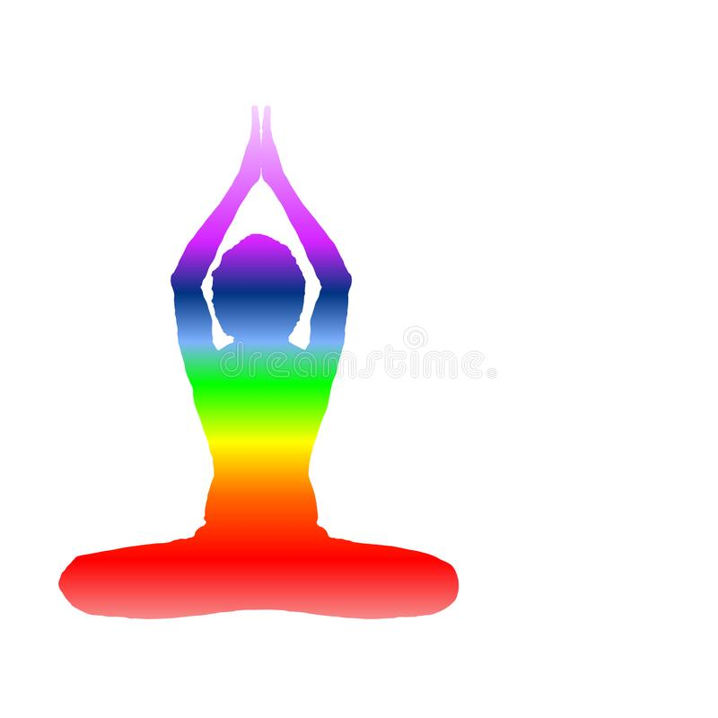 Yoga Day banner with seven aura energy Chakra with beautiful gradient vector design. Space computer graphic web design stock illustration