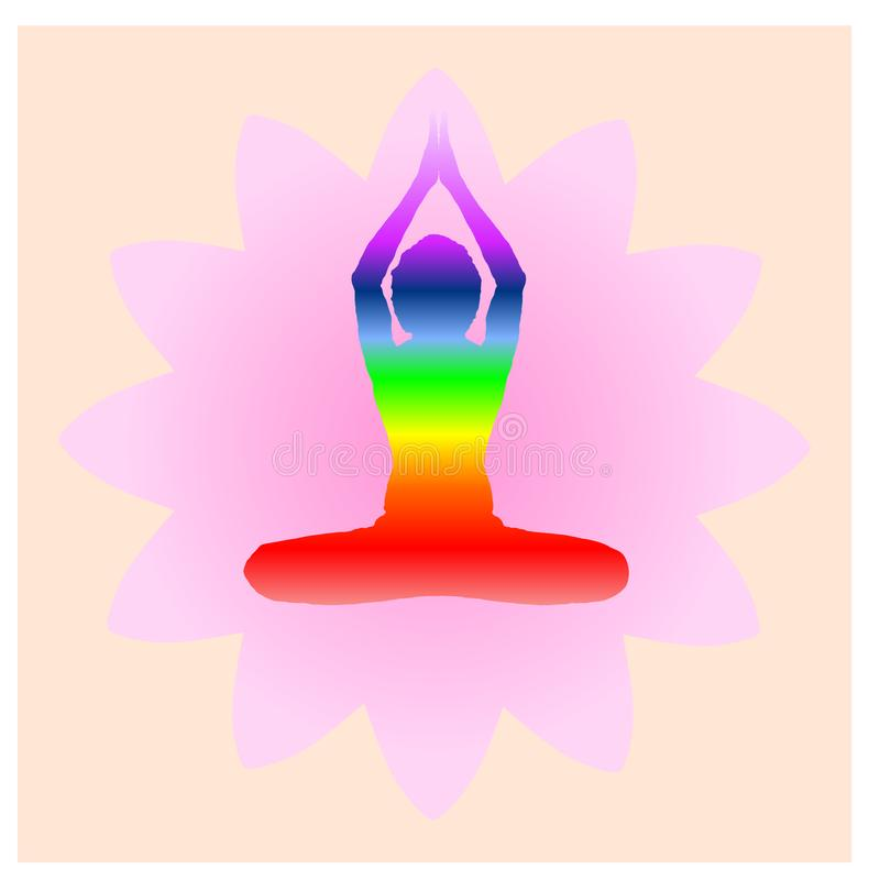 Yoga Day meditation parvastasna pose banner with seven aura energy Chakra against pink lotus petals. With beautiful gradient vector design computer graphic web vector illustration
