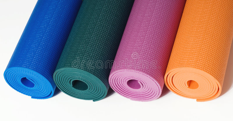yoga de couvre-tapis images libres de droits