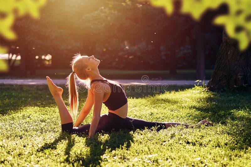 yoga Yoga de jeune femme ou danse ou ?tirage de pratique en nature au parc Concept de mode de vie de sant? image stock