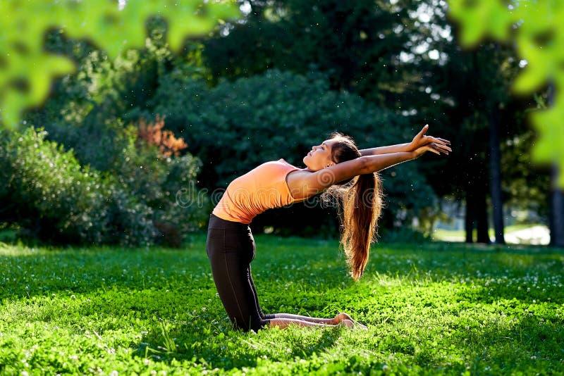 yoga Yoga de jeune femme ou danse ou ?tirage de pratique en nature au parc Concept de mode de vie de sant? photos libres de droits