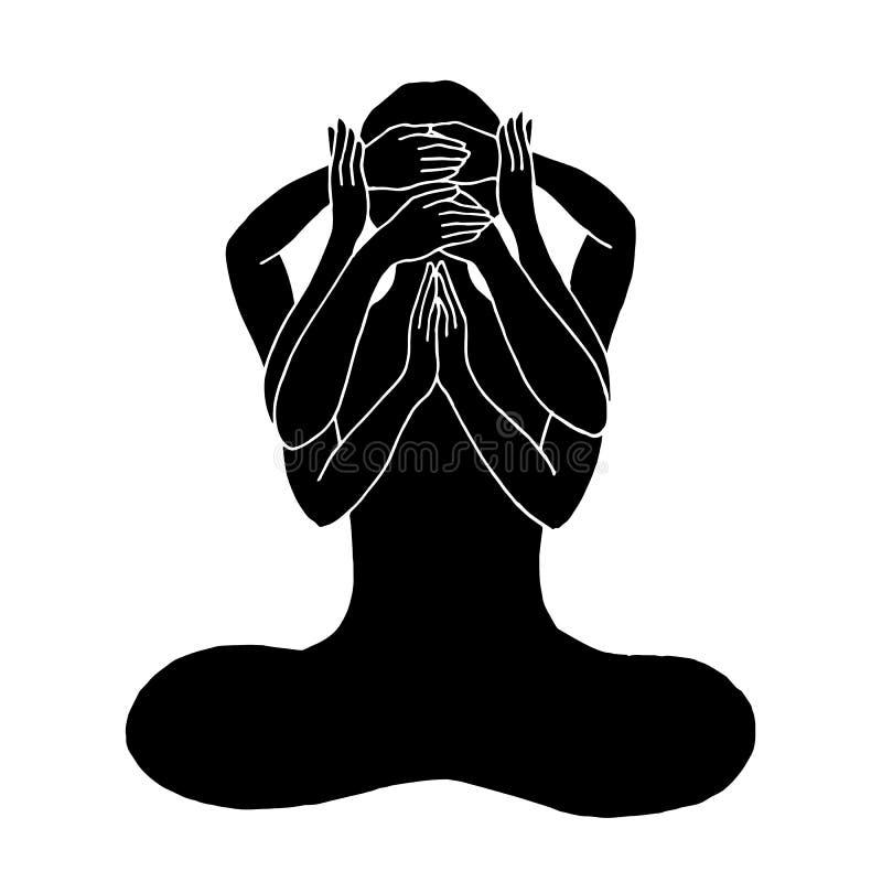 Yoga de la actitud del loto de Chakra, boca y mente abierta, vector del oído del ojo del cierre stock de ilustración