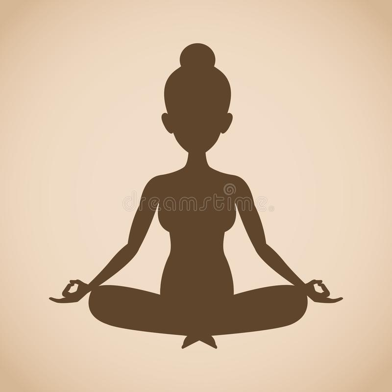 Yoga de la actitud de la mujer de la silueta stock de ilustración