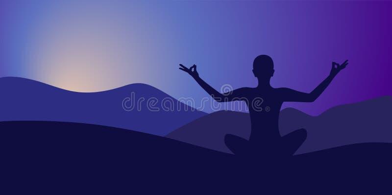 Yoga de la meditación en la alta montaña en fondo de la salida del sol ilustración del vector
