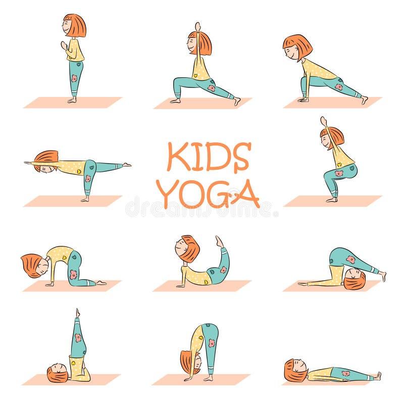 Yoga de los niños fijada con la muchacha linda de la historieta ilustración del vector