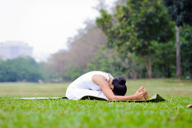 Yoga de pratique de belle femme en parc photo libre de droits
