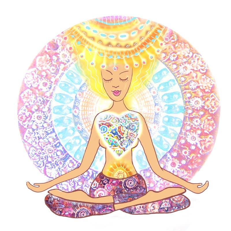 Yoga de pratique de femme Femme tirée par la main s'asseyant dans la pose de lotus du yoga sur le fond de mandala illustration de vecteur