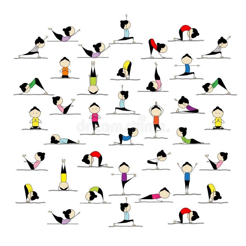 Yoga de pratique de gens, 25 poses pour votre conception illustration libre de droits