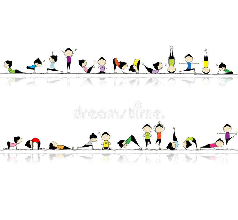 Yoga de pratique de gens, fond sans joint illustration stock