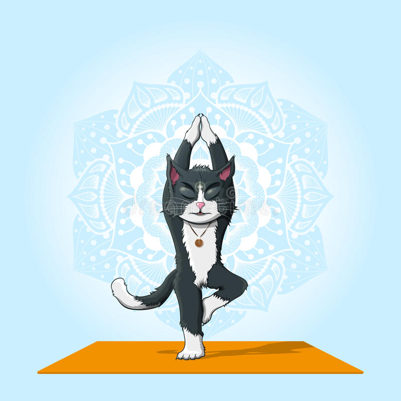 Yoga de pratique en matière de chat illustration de vecteur
