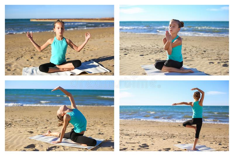 Yoga de pratique de fille de collage sur la plage photographie stock