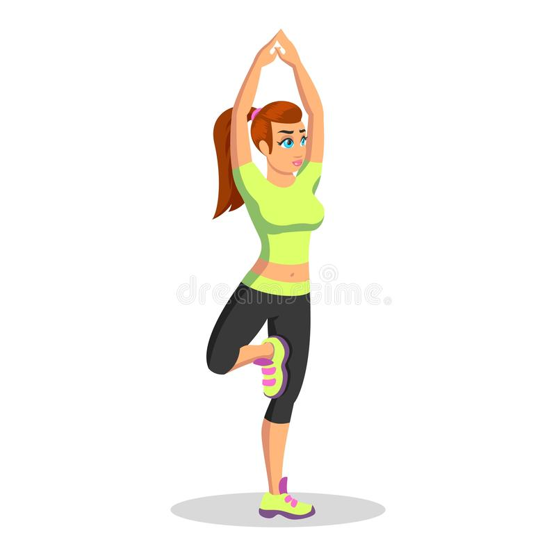 Yoga de pratique de hatha de jeune femme de brune au centre de fitness ou à la maison illustration stock