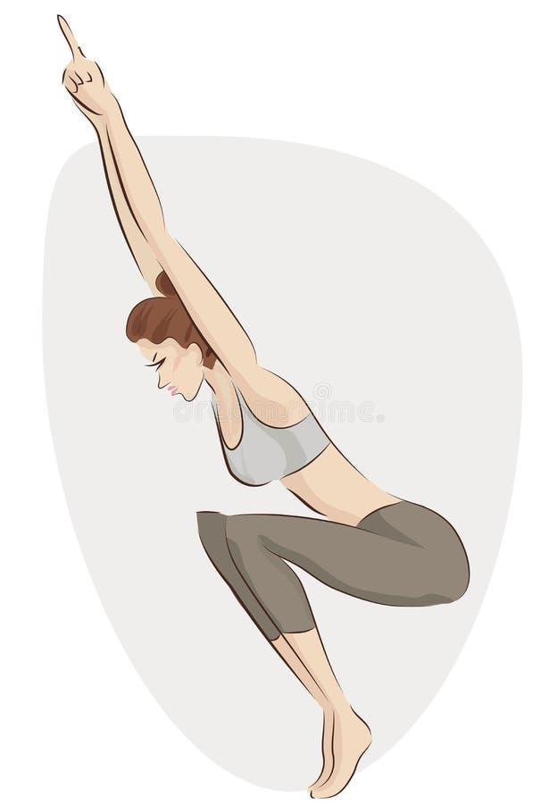 Yoga de pratique Illustration de vecteur d'une femme faisant l'exercice illustration libre de droits
