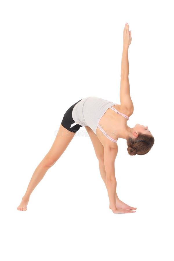 Yoga del entrenamiento de la mujer imagenes de archivo
