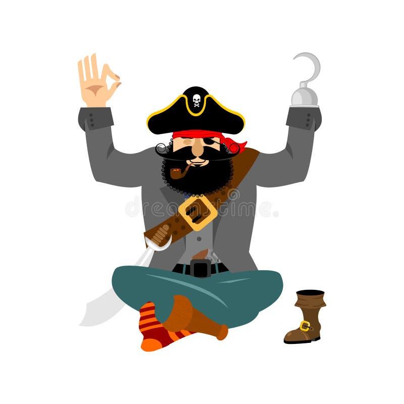 Yoga del pirata Yogi dell'ostruzionismo rilassamento e cognizione del bucaniere illustrazione vettoriale