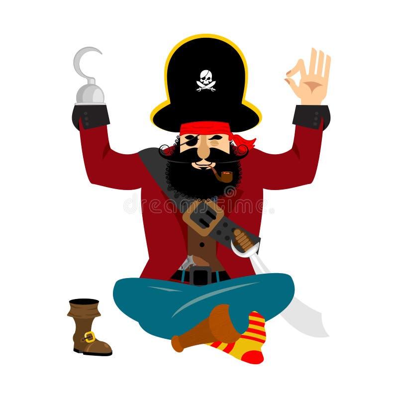 Yoga del pirata yogui del obstruccionismo relajación y cognición del bucanero ilustración del vector