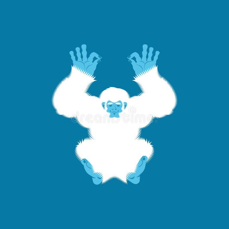 Yoga del yeti Yogui de Bigfoot Relajación y cogni del muñeco de nieve abominable stock de ilustración