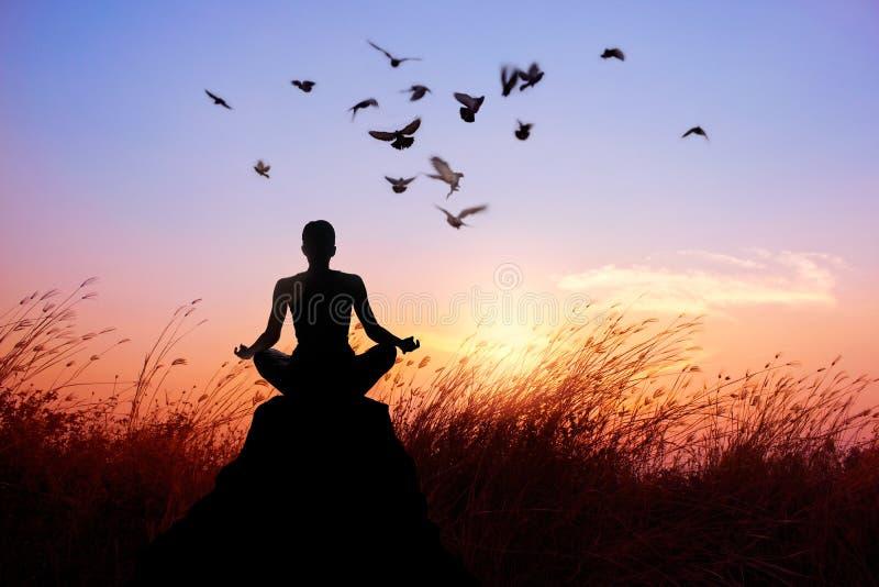 Yoga della donna e meditare, siluetta su tramonto della natura fotografia stock libera da diritti