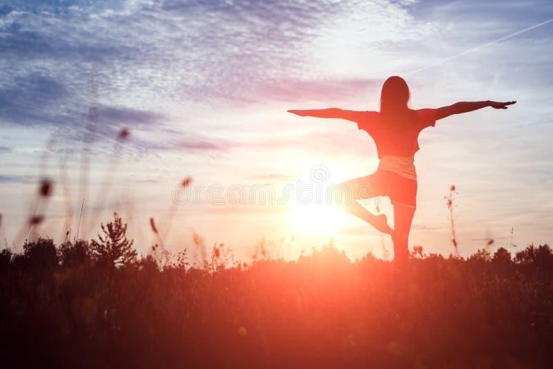 Yoga della siluetta della giovane donna sulla natura al tramonto Aria fresca, stile di vita sano, spazio della copia Fondo magico immagini stock libere da diritti