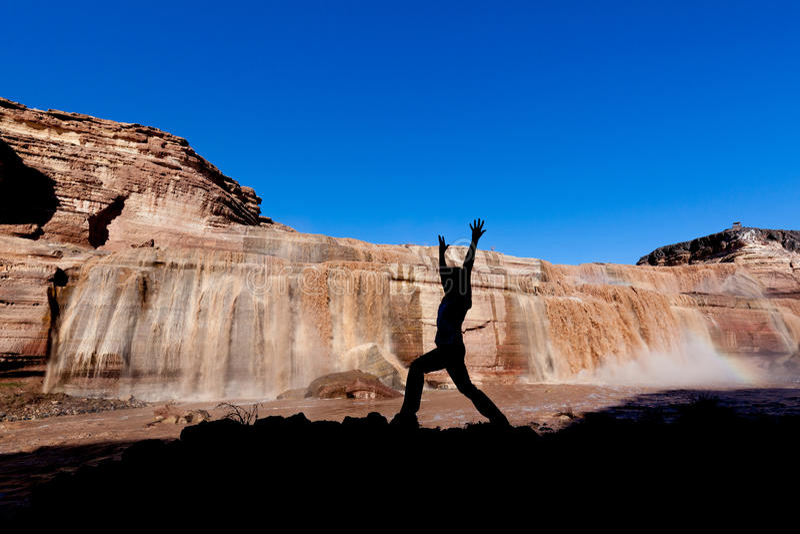 Yoga an den großartigen Fällen stockfotografie