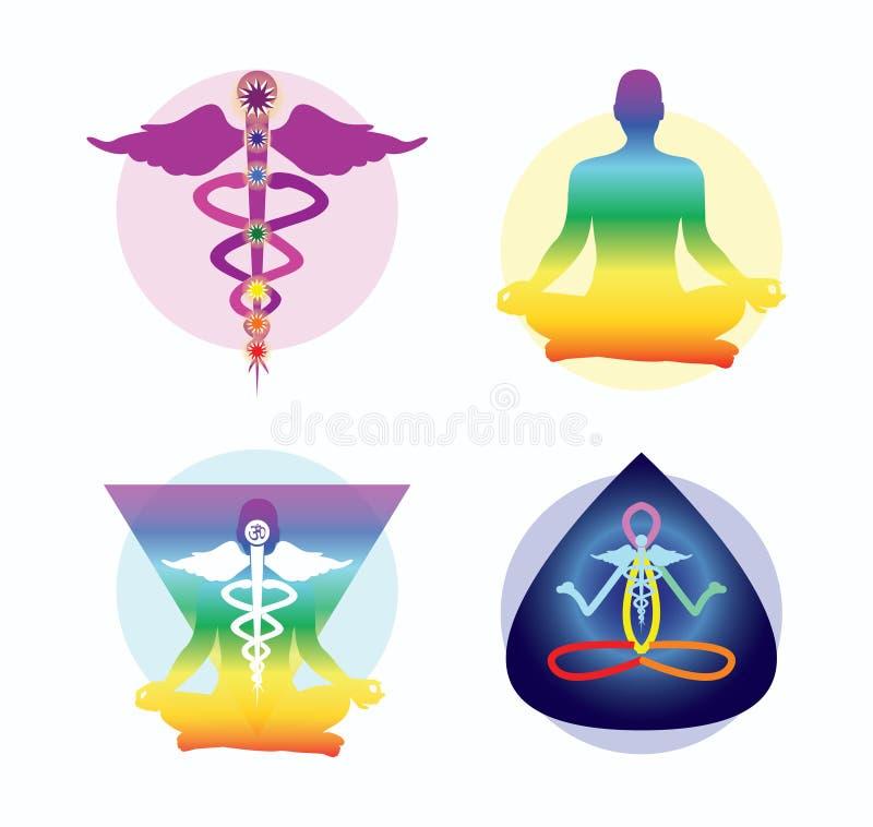 Yoga design ideas. Yoga symbols - creative design ideas royalty free illustration