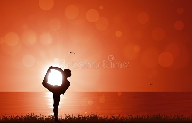 Yoga di alba illustrazione vettoriale
