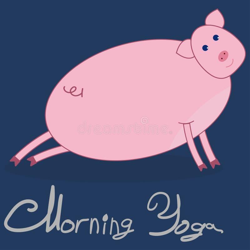 Yoga di mattina con un maiale Il maiale è impegnato nell'allungamento delle gambe Priorità bassa blu scuro Il testo grigio al di  illustrazione di stock