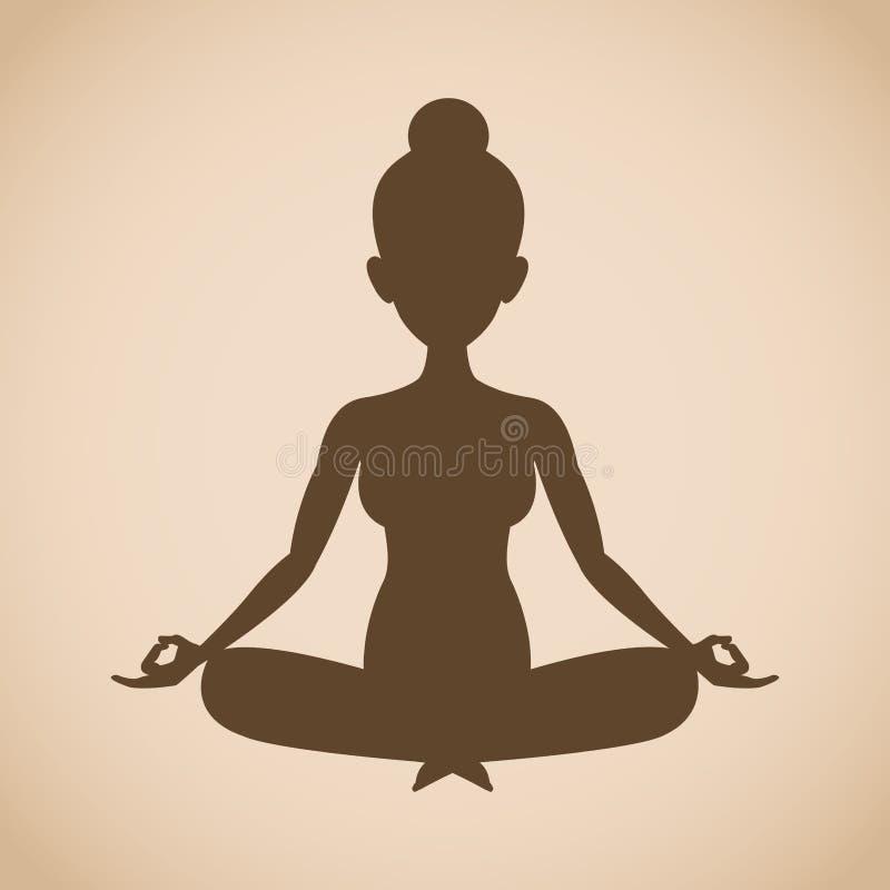 Yoga di posa della donna della siluetta illustrazione di stock