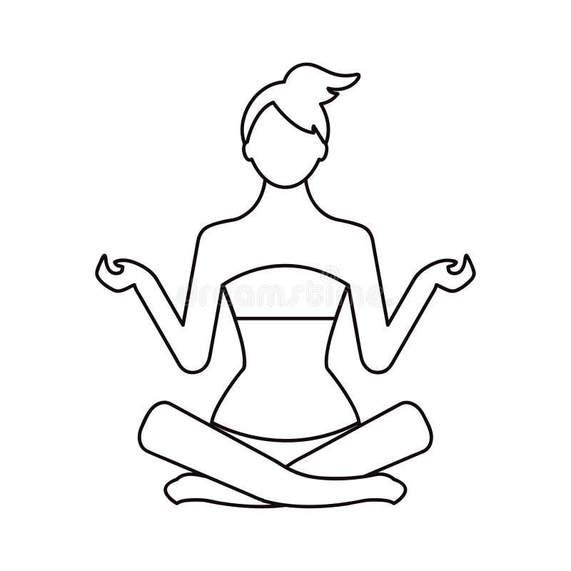 yoga di posa in monoline di stile Illustrazione di vettore illustrazione vettoriale