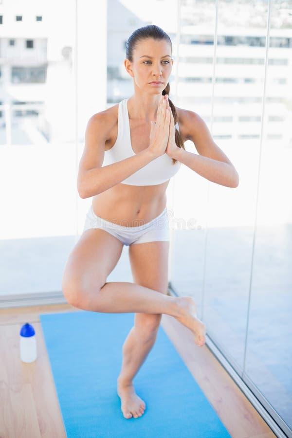 Yoga di pratica concentrata della donna adatta fotografia stock libera da diritti