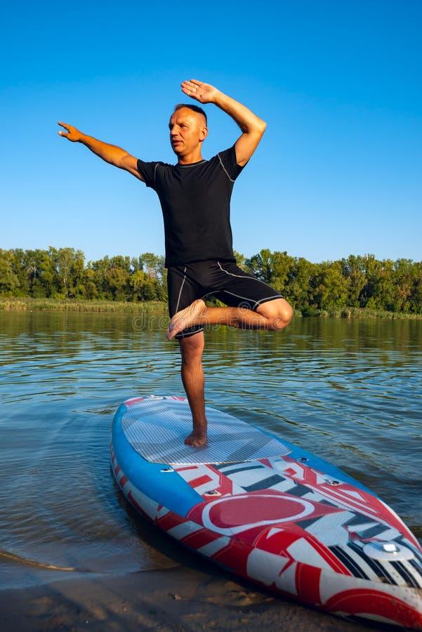 Yoga di pratica dell'uomo su un bordo del SUP durante il tramonto fotografia stock