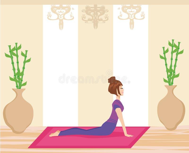 Yoga di pratica della giovane donna all'interno illustrazione di stock