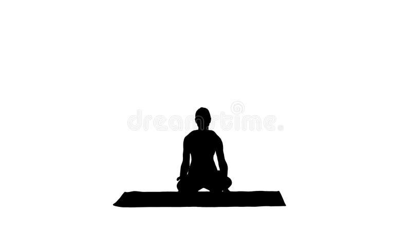 Yoga di pratica della giovane donna sportiva della siluetta, facente esercizio della scala, posa di Tolasana illustrazione di stock