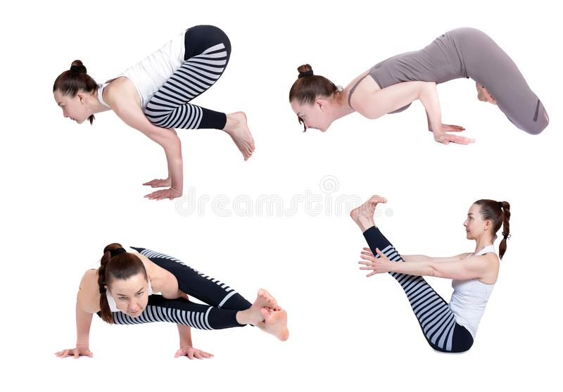 Yoga, diff?rentes poses sur un fond blanc, isolat instructeur de yoga de pratique, enseignant une le?on images stock
