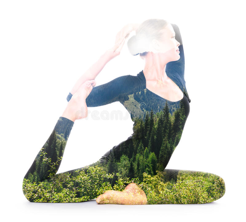 Free Yoga, Double Exposure Royalty Free Stock Photography - 47312177