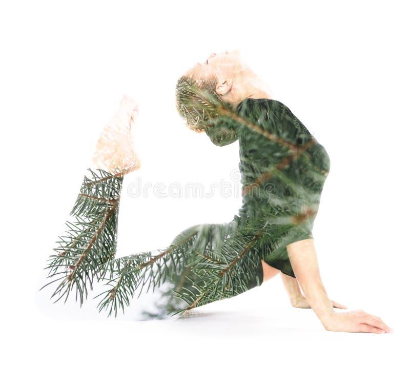 Yoga, double exposure stock image