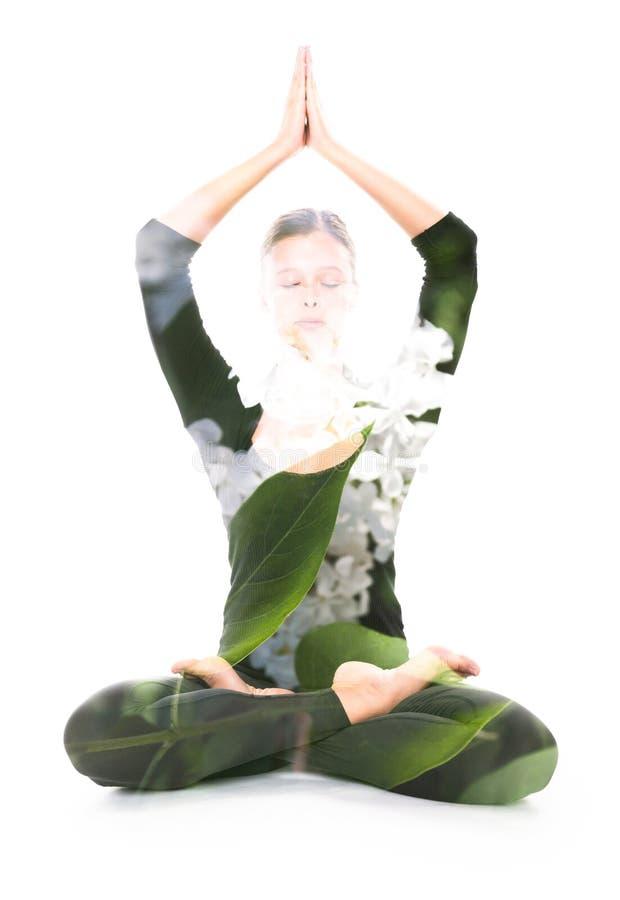 Yoga, dubbele blootstelling stock afbeeldingen