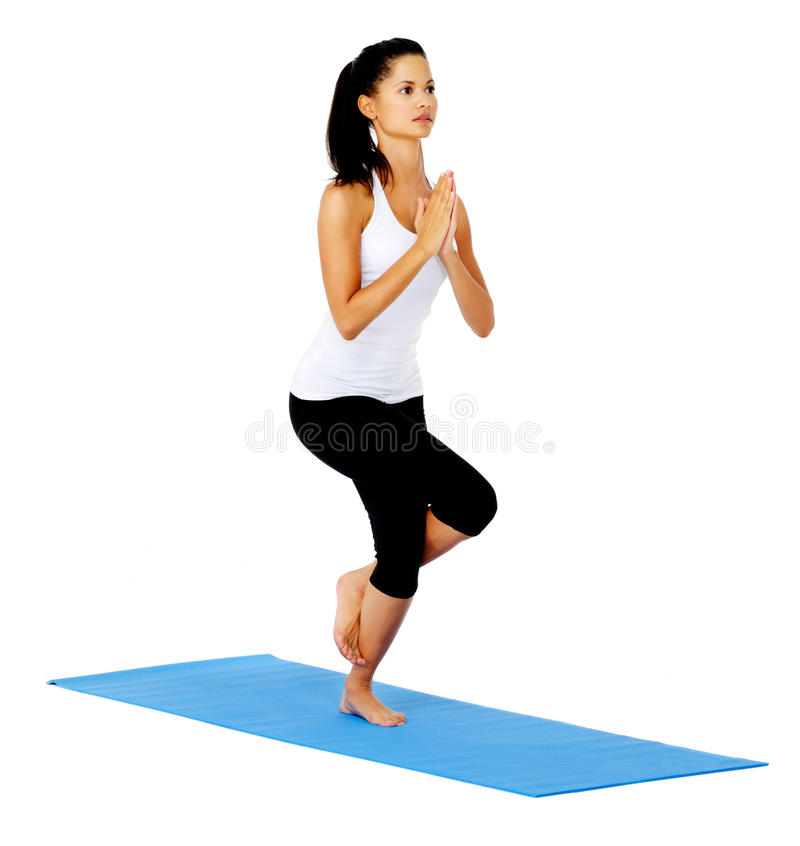 Download Yoga eagle pose stock image. Image of focus, mixed, flexible - 24331193