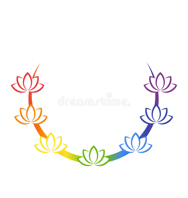 Yoga emblem with abstract chakra lotuses isolated on white. Background royalty free illustration