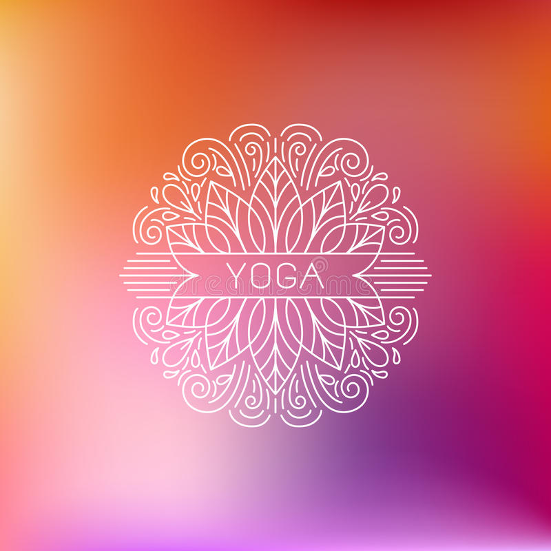 Yoga emblem. Vector logo design template and emblem made with leaves and flowers - beauty and spa - badge for yoga classes, holistic centers, natural cosmetics vector illustration