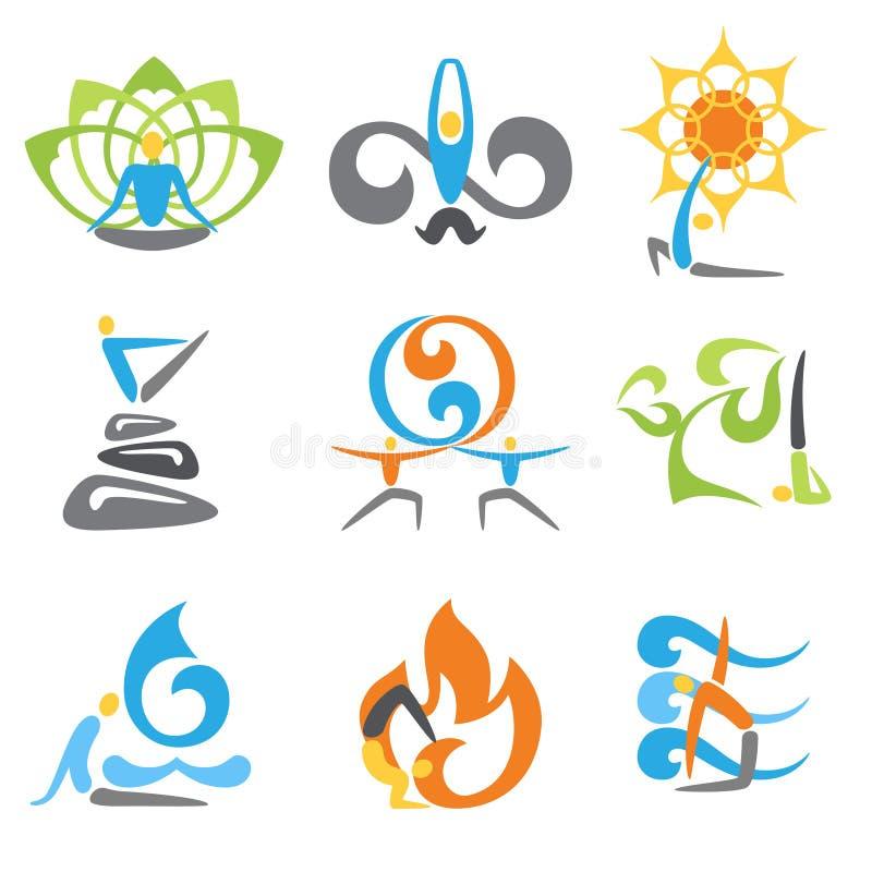 Yoga-Embleme eingestellt stock abbildung
