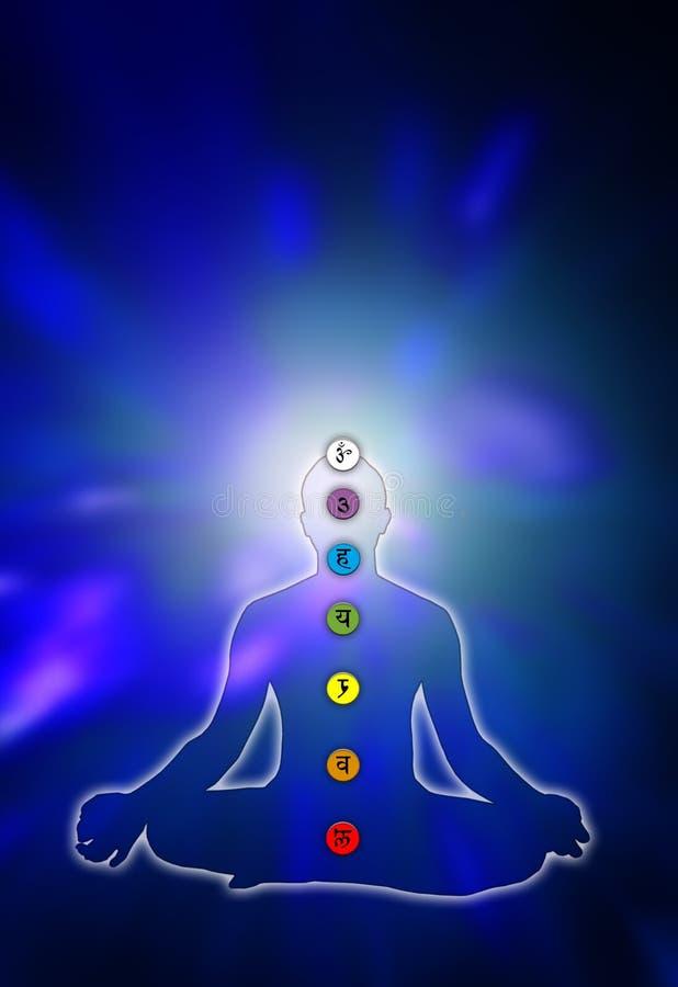 Yoga en chakras royalty-vrije illustratie