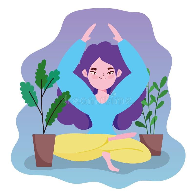 Yoga en línea, loto de yoga para chicas libre illustration