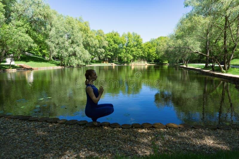 Yoga en la charca imagen de archivo