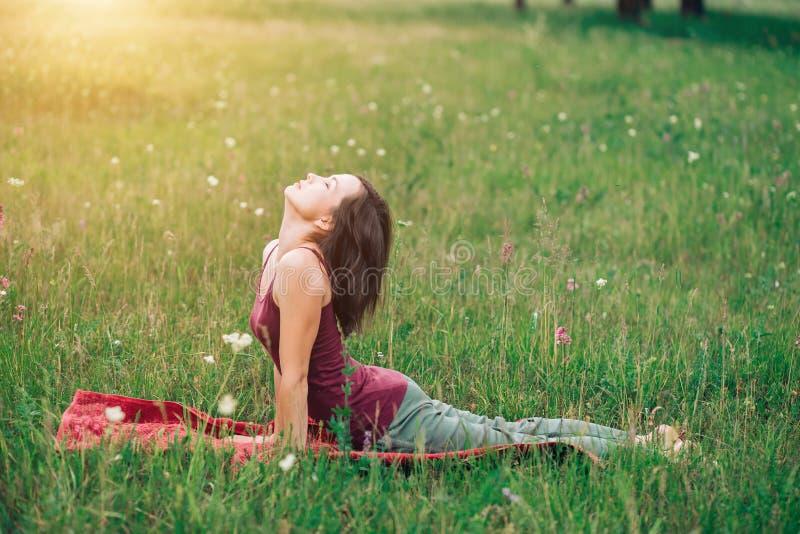 Yoga en la naturaleza, mujer hermosa que hace la gimnasia, ejercicios en el prado fotos de archivo libres de regalías
