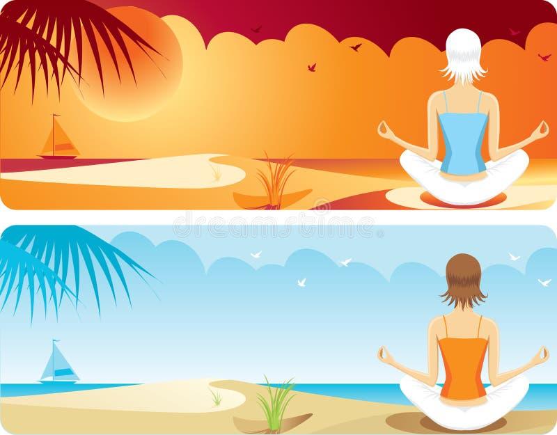 Yoga en la playa ilustración del vector