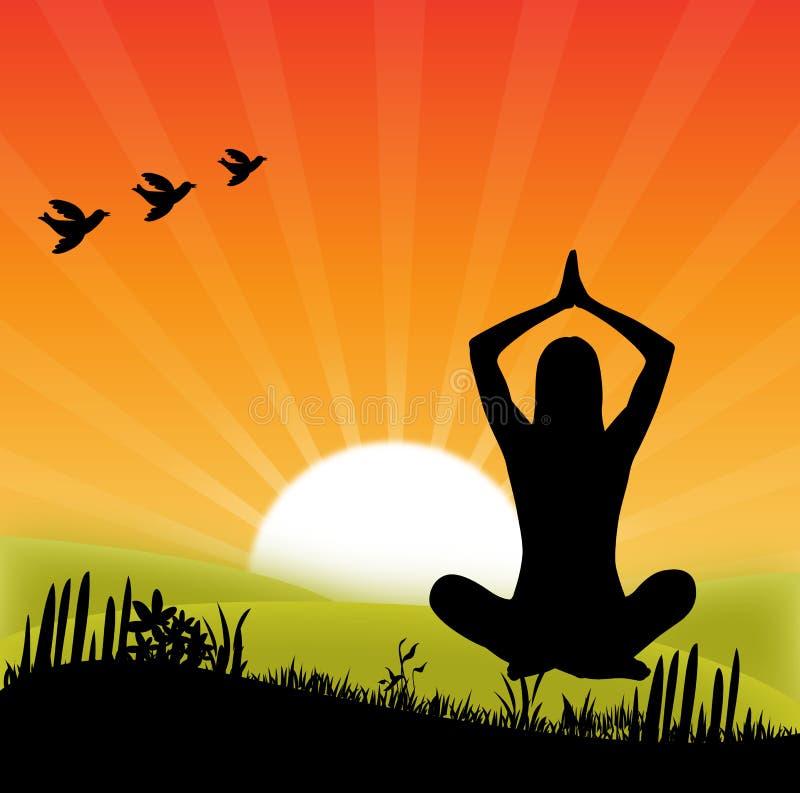 Yoga en la puesta del sol stock de ilustración