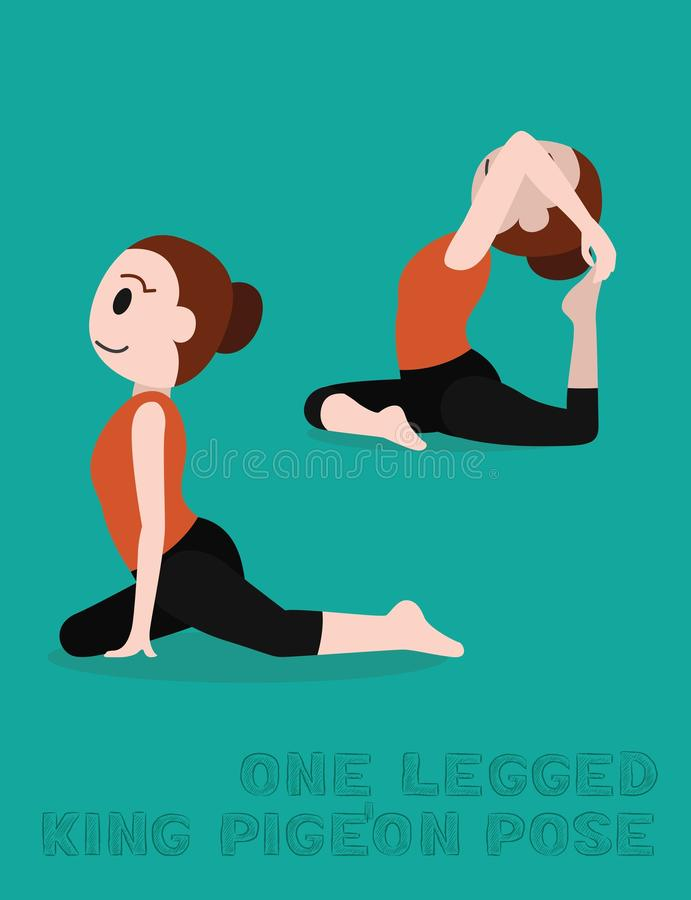Yoga en lagd benen på ryggen vektorillustration för konung Pigeon Pose Cartoon stock illustrationer