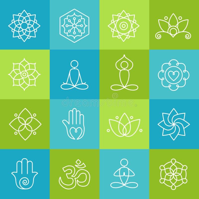 Yoga en meditatiepictogrammen royalty-vrije illustratie