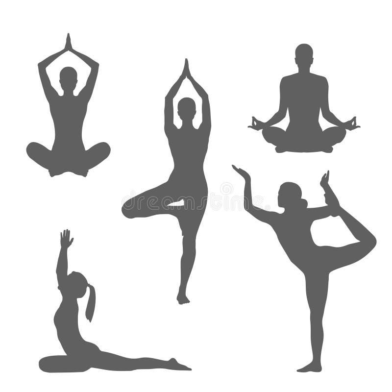 Yoga en naturaleza Siluetas de las mujeres ilustración del vector